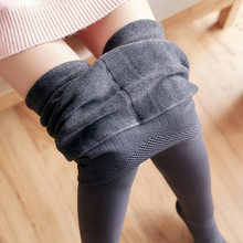 Women Winter Fashion Slime High Waist Big Elastic Long Thick Plus Velvet Leggings Female Sexy Thick Warm Fleece Bottom Leggings(China)
