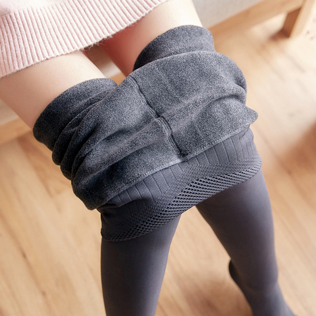 Women Winter Fashion Slime High Waist Big Elastic Long Thick Plus Velvet Leggings Female Sexy Thick Warm Fleece Bottom Leggings