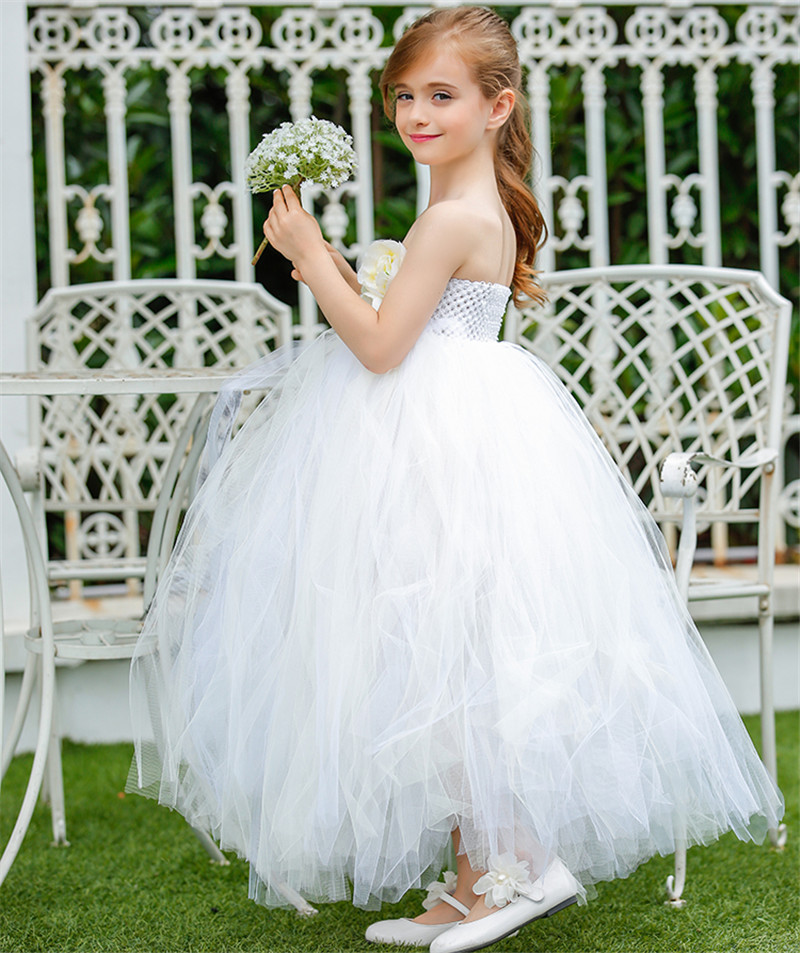 ФОТО Princess Style Flower Girl Dresses White mix Ivory Girls Graduation Gowns Prom Dresses For Party Wedding