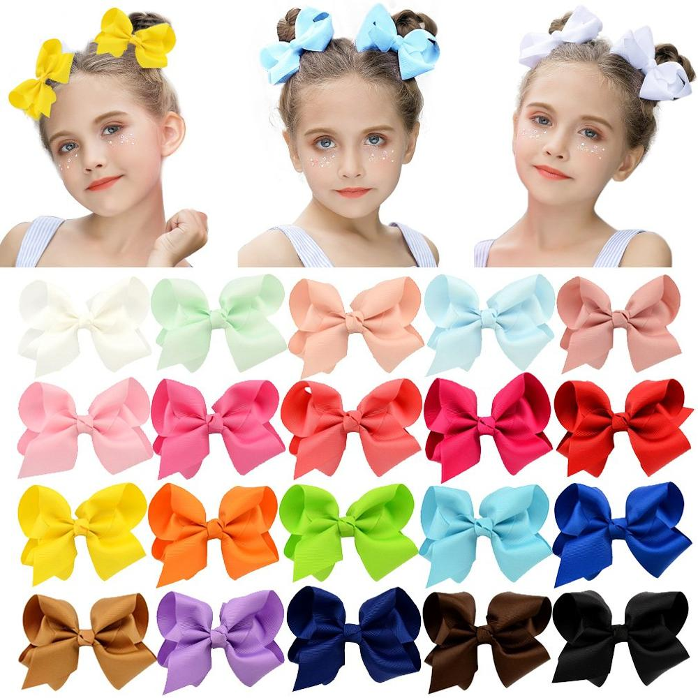 3/4/6/8inch Boutique Handmade Colorful Solid Ribbon Grosgrain Hair Bow With Clips For Kids Girls Hair Accessories(China)