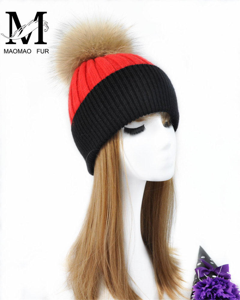 Accessories Women Real Fur Pom Pom Hat Female Winter Wool Autumn Knitted Beanies Fur Ball Cap Ladies Cashmere Natural Raccoon Fur Pompom Hat 100% Guarantee