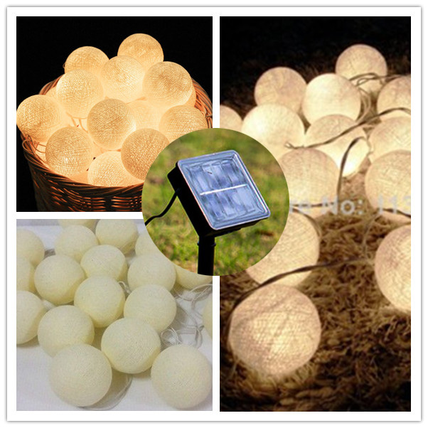 5m/19.68'' Led Solar Powered Thai Style Cotton Ball String Fairy Lights, For Patio,Wedding,Party Luminaria Christmas Natal Decor