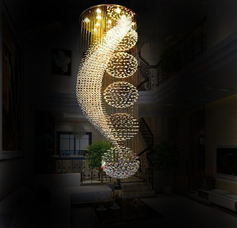 Moon Shape Sphere Stair Lighting Modern Led Crystal Chandelier Light for Stair Large Hotal Project Lighting Fixture