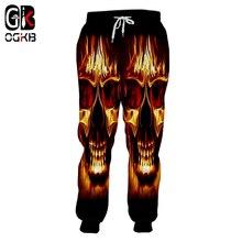 OGKB New Arrival Women/men's Cool Print Flame Skull 3d Sweatpants Homme Hiphop Streetwear Punk Casua