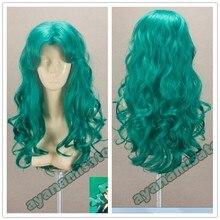 Sailor Moon Kaiou Michiru Wigs Sailor Neptune Long Green Curly Heat Resistant Synthetic Hair Cosplay Costume Wig + Wig Cap