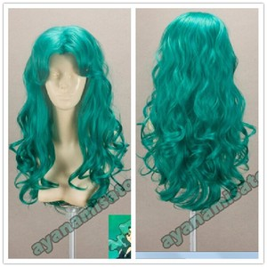 Image 1 - Sailor Moon Kaiou Michiru Wigs Sailor Neptune Long Green Curly Heat Resistant Synthetic Hair Cosplay Costume Wig + Wig Cap