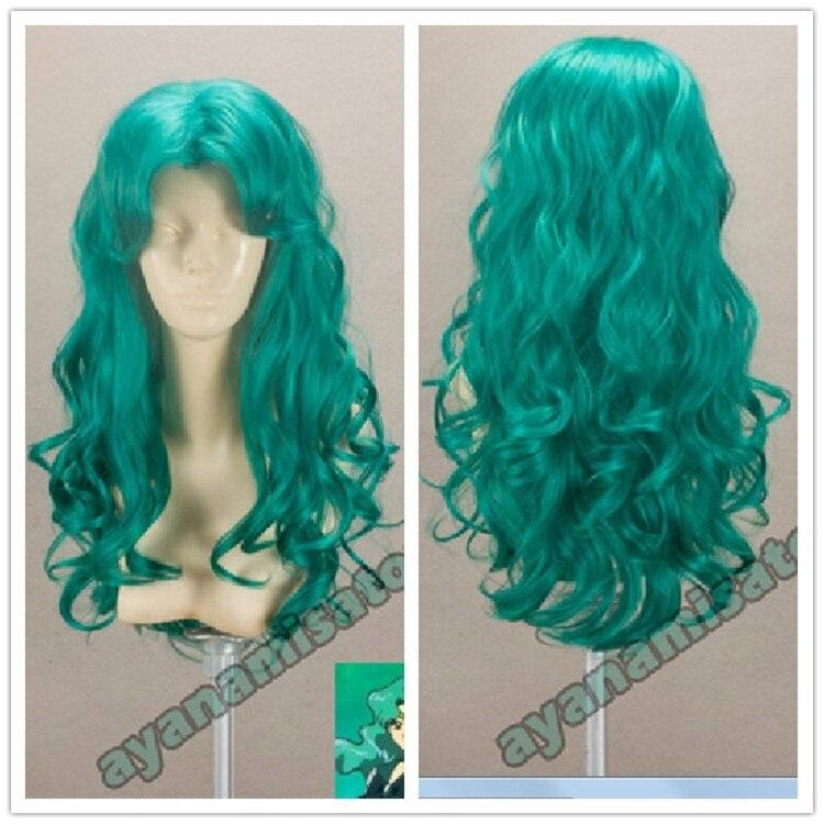 Sailor moon kaiou michiru perucas marinheiro netuno longo verde encaracolado resistente ao calor do cabelo sintético cosplay peruca + peruca boné