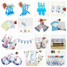 Mermaid Princess Banner Happy Birthday Kids Shower Paper Girl Party Decoration Set Theme Supplies Cup Plate Forks Napkin Favors