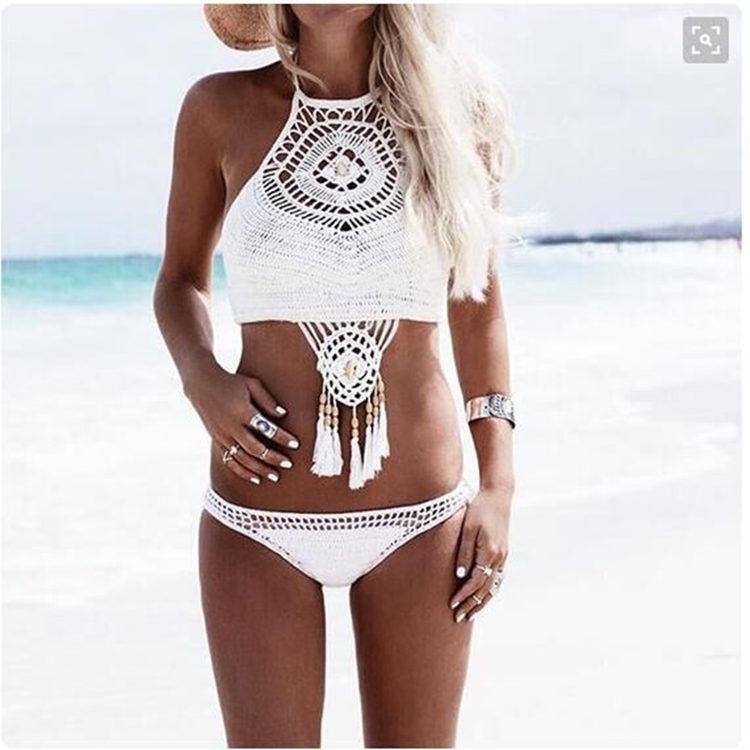 2018 Sexy Handmade Crochet Bikinis Women High Waist Knitting Swimsuit Swimwear Push Up Crop Top High Neck Bikini Set Bathingsuit