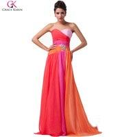 Grace karin ombre rainbow aqua blue coral rojo más el tamaño largos Vestidos de Dama de 2017 Vestido De Festa Gasa de Baile de la Boda vestido