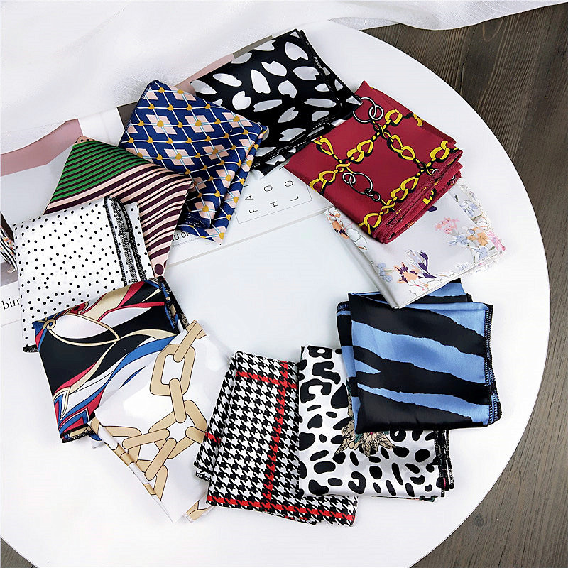 50*50Cm Small Square Scarf Female Spring Summer Wild Professional Silk Bag Scarves Business Satin Scarf Bandana Neckerchief