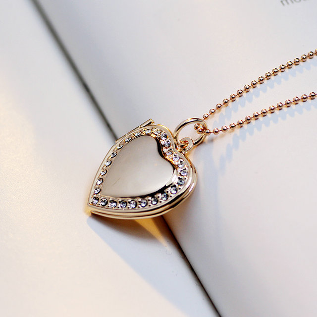 Classic Memory Photo Frame Rhinestone Crystal Heart Pendant Locket Necklace For Womens Jewellery Fashion Necklaces Jewelry 6