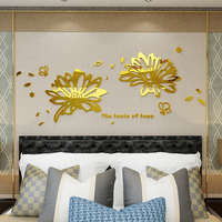 Mirror flower acrylic 3d self adhesive wall sticker wallpaper Living room dining room bedroom wedding room decoration painting