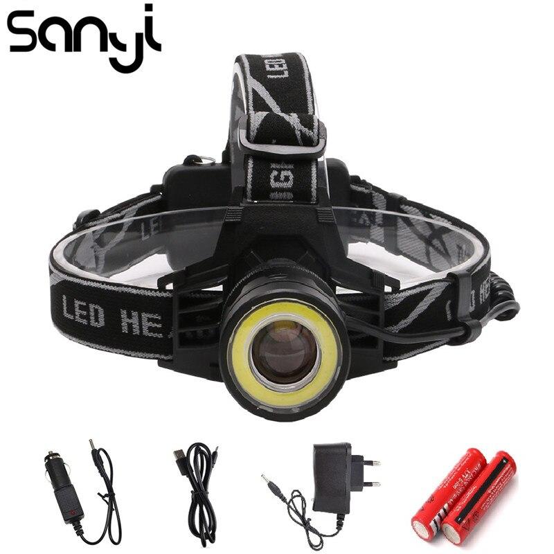SANYI 40000 Lumen LED faro 4 modos de faro Zoomable cabeza antorcha linterna XM-L T6 + COB LED Luz de acampada para noche de pesca