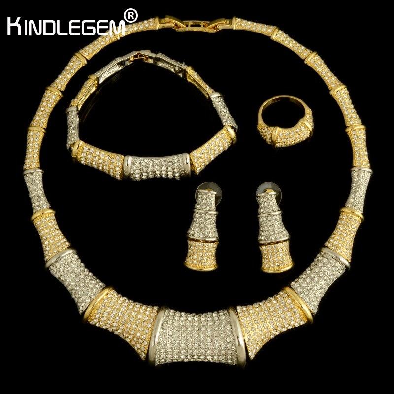 Kindlegem 2018 haute couture couleur argent or africain CZ Zircon bambou collier de mariage Costume de mariée bijoux ensemble pour les femmes