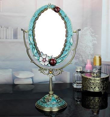 Fashion makeup mirror desktop princess rustic vanity mirror vintage mirror Large table mirror metal countertop mirror large 8 inch fashion high definition desktop makeup mirror 2 face metal bathroom mirror 3x magnifying round pin 360 rotating