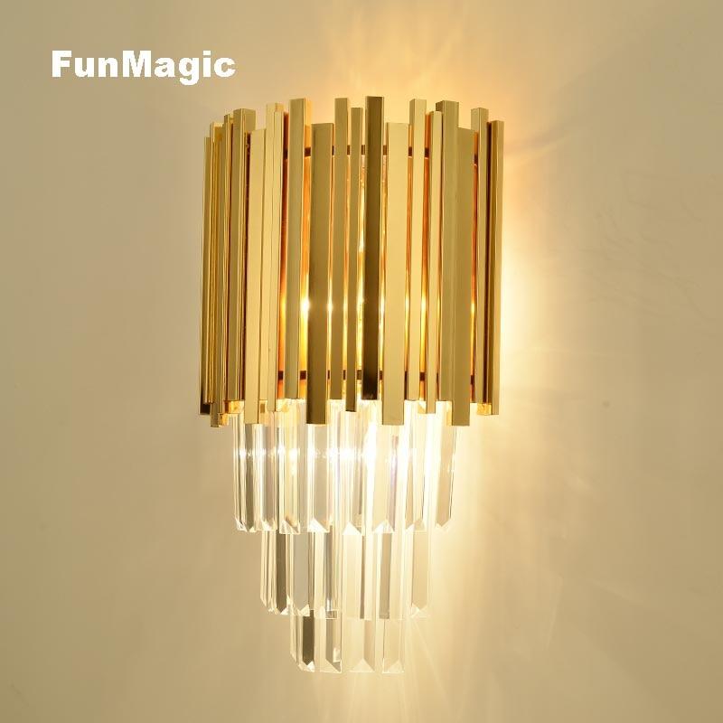 Post Modern Luxury Golden Wall Lamp Bedside Crystal Light Living