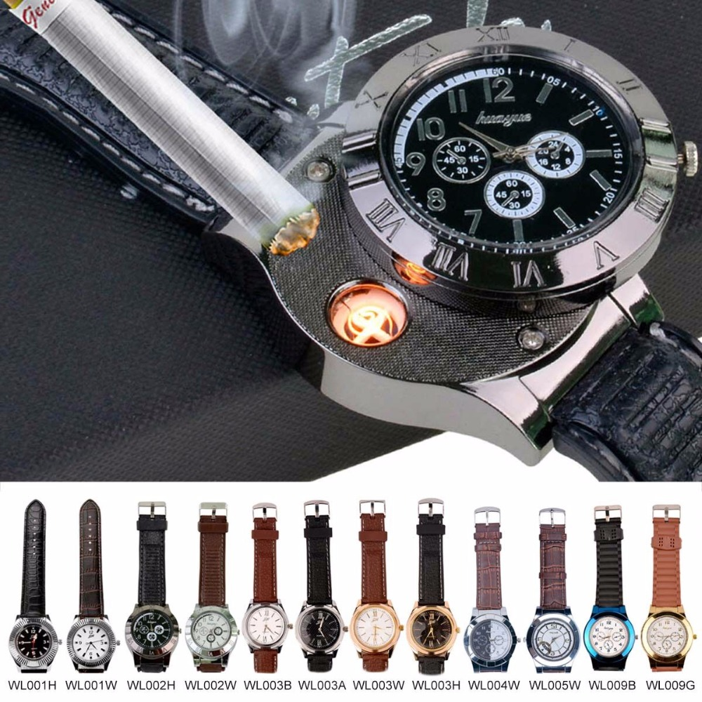 Fashion Rechargeable USB watch Lighter Top Brand luxury Relogio Masculino Waterproof Flameless Cigarette Lighter Watches men 00 fly eagle fe808 usb rechargeable electronic cigarette lighter keychain green