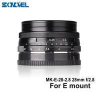 Lente de enfoque manual fija Meike MK-E-28-2.8 28mm f/2 8 Para Sony E montaje sin espejo para A5100 A6000 A6300