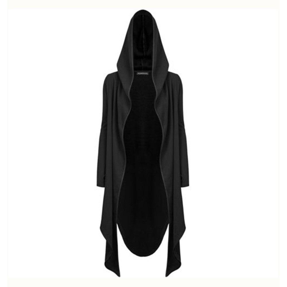 Gothic Casual Hooded Long Coats Women Autumn   Trench   Coat Fashion Streetwear Minimalist Black Top Female Loose Cardigan Overcoat