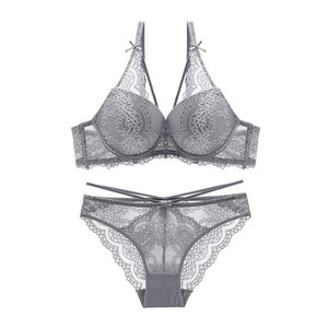 Image 4 - Varsbaby new sexy push up lace bras underwire underwear bow breathable panties for women