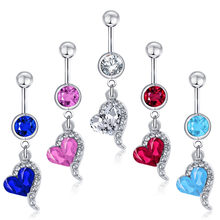 Women Love Heart belly navel button rings Bar Surgical Piercing Sexy Body Jewelry piercing Gifts for Lady 5 Colors 1Pcs(China)