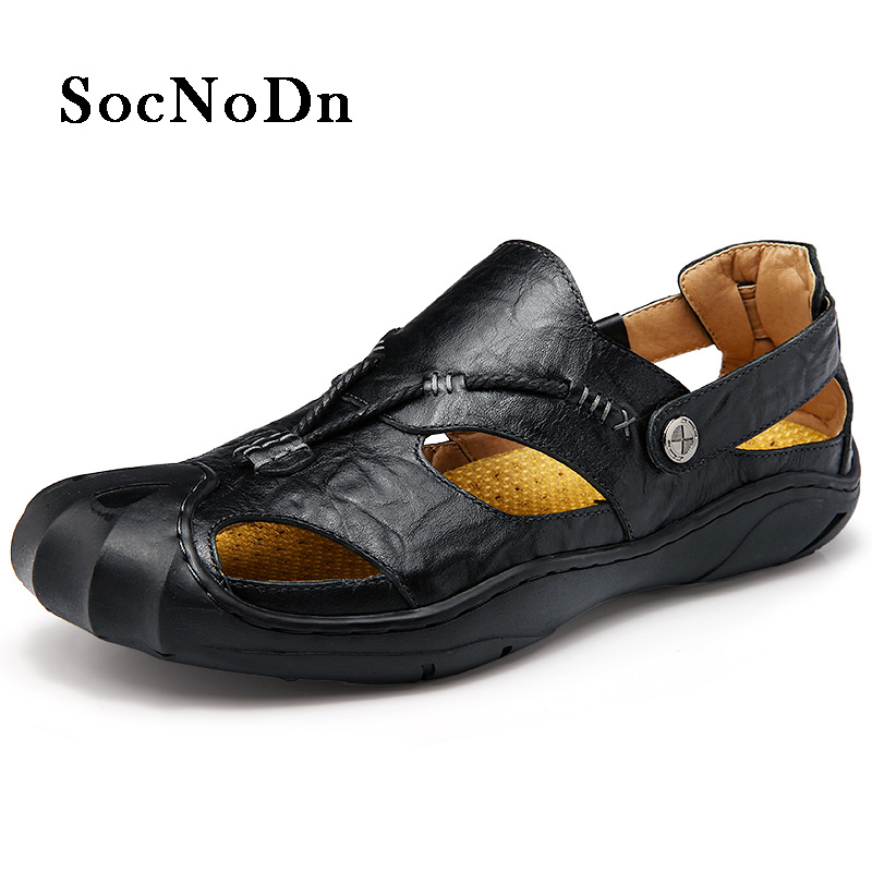 SocNoDn Men Leather Sandals Outdoor 2018 Summer Handmade Shoes for Male Breathable Casual Footwear Slip On Walking Sandals