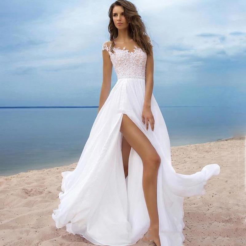 Charming White Chiffon Summer Bohemian Wedding Dress