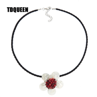 TDQUEEN Flower Pendant Necklaces Red Crystal Beads Handmade Women Fashion Necklace Antique Silver Plated Necklaces Pendants