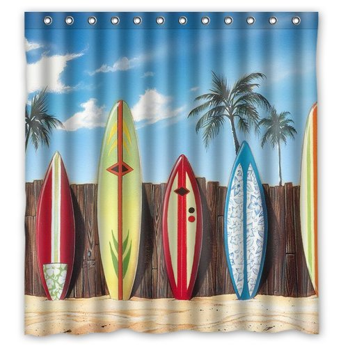 CHARMHOME Custom Colorful Surfboards On Beach Palm Tree