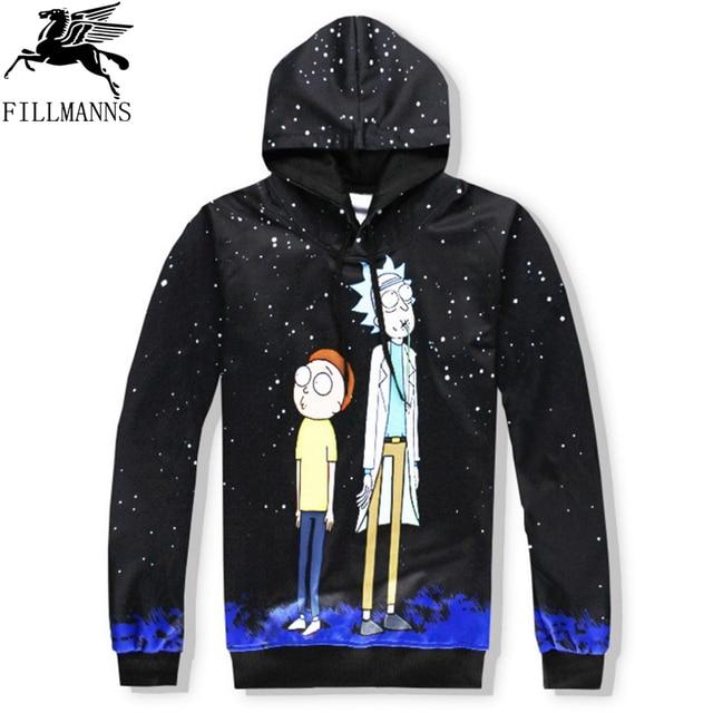 N  Rick and Morty men hoodies sweatshirts 3D Print cotton sweatshirt Hooded Unisex Scientist Anime Hoodies men/women clothing  4