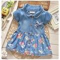 2017 verão roupa do bebê recém-nascido infantis bebê meninas tutu dress marca denim princesa vestidos de festa para a roupa dos bebés dress