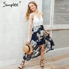 Simplee Sexy print lace summer dress Strap deep v neck high waist beach dresses women 2017
