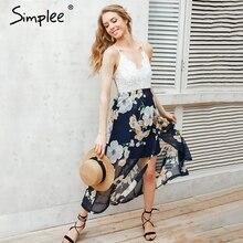 Simplee сексуальная печати кружева летнее платье на Глубокий V шеи высокая Талия пляжные платья женские Новинка 2017 разрез спинки длинное платье