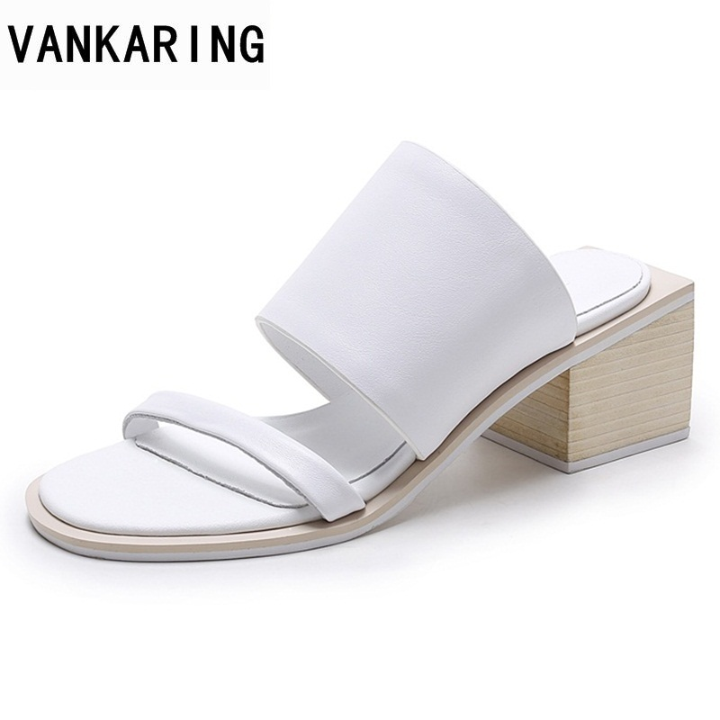 VANKARING women 2018 fashion summer shoes sandals genuine leather middle square heels open toe woman white sandals dress shoes summer mother shoes woman genuine leather soft outsole open toe sandals casual flat women shoes 2018 new fashion women sandals