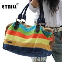 2016 New Canvas Handbags Patchwork Stripe Rainbow Color Block Women Canvas Shoulder Bag Multifunction Messenger Crossbody