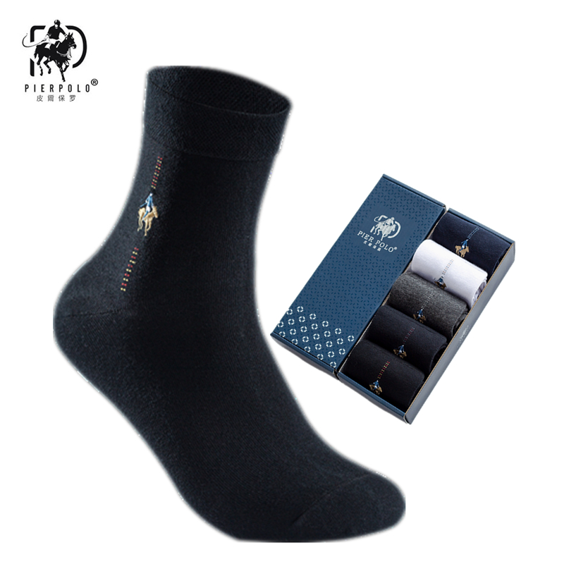 PIER POLO Men's Dress Embroidered Gift Socks Solid Color Cotton Socks Deodorant Breathable Men's Socks 5 Pairs Beautiful Boxed