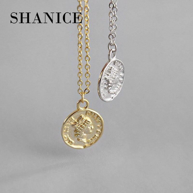 SHANICE в Корейском стиле S925 серебро ожерелье ретро INS геометрический портрет Круглый Монета женский по производсву серебрянных колье-чокер ве...