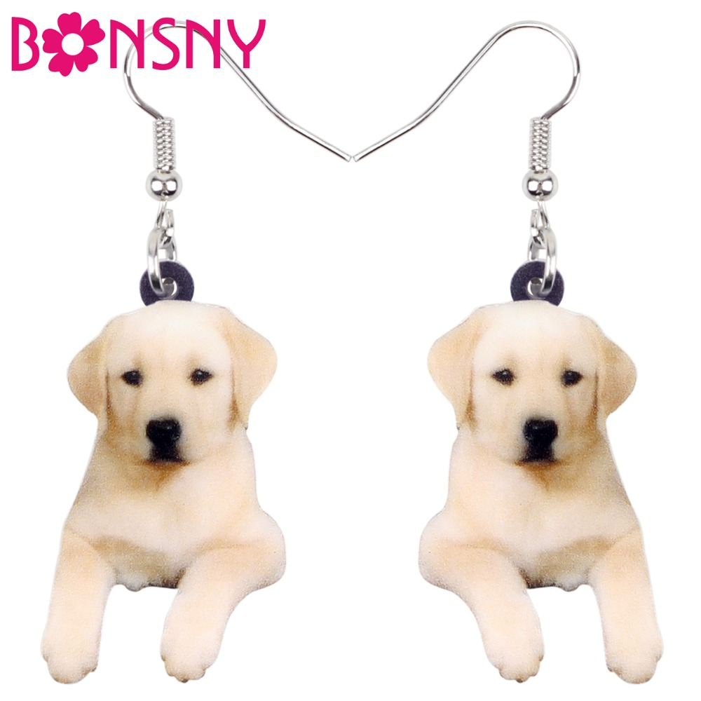 Bonsny Acrylic Sweet Labrador Retriever Dog Earrings Big Long Dangle Drop Fashion Animal Jewelry For Women Girls Pet Lovers Gift