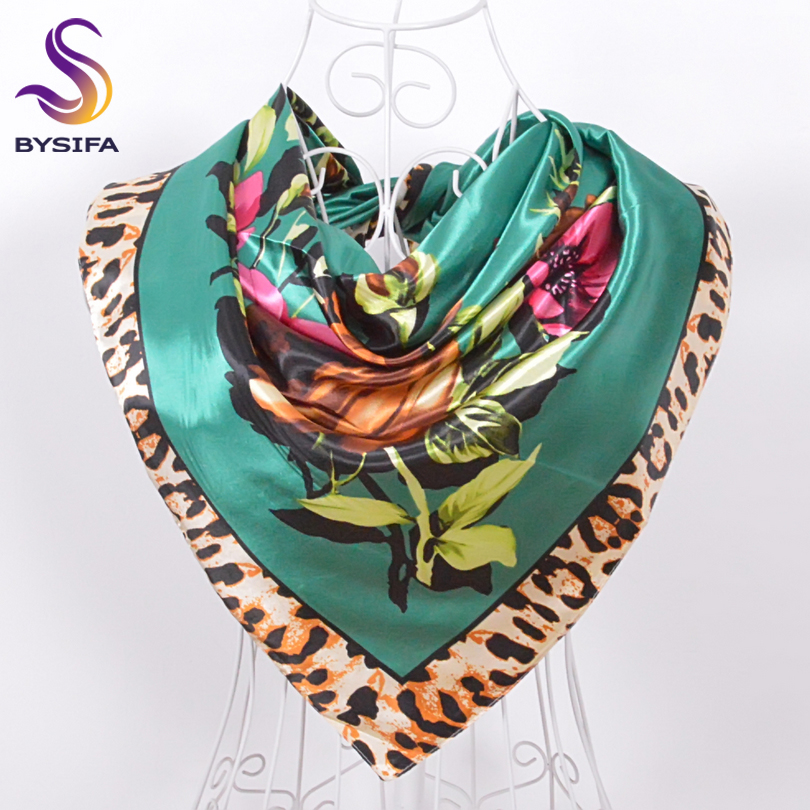 Green Rose Leopard Print <font><b>Silk</b></font> <font><b>Scarf</b></font> Printed <font><b>90</b></font><font><b>*</b></font>90cm Ladies Satin Square <font><b>Scarves</b></font> Green,Navy Blue,Coffee, Yellow,Red, Dark Blue image