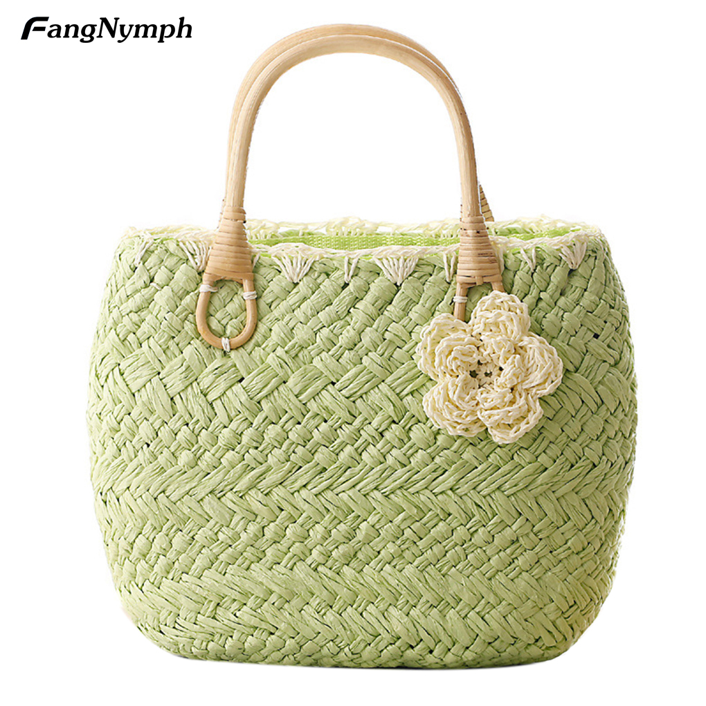 Womens Straw Knitted Handbags with Floret Decoration Candy Color Handbag 5 Color