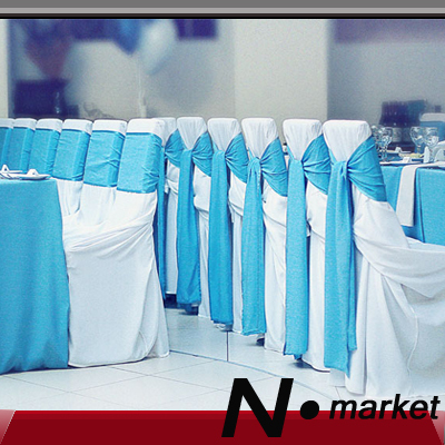 2017 New Arrival Satin Chair Covers White For Weddings Band Sash With Blue Ribbon China