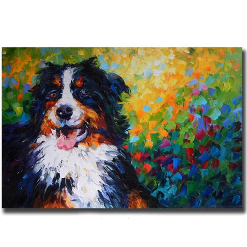 Sin marco Pintura Al Óleo Personalizado Perro Escena Fotos Wall Art ...