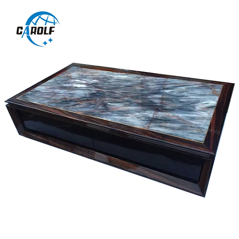 US $351.5 5% OFF|Nordic living room coffee modern table marble top wooden  center table with drawers, side table with storage-in Coffee Tables from ...