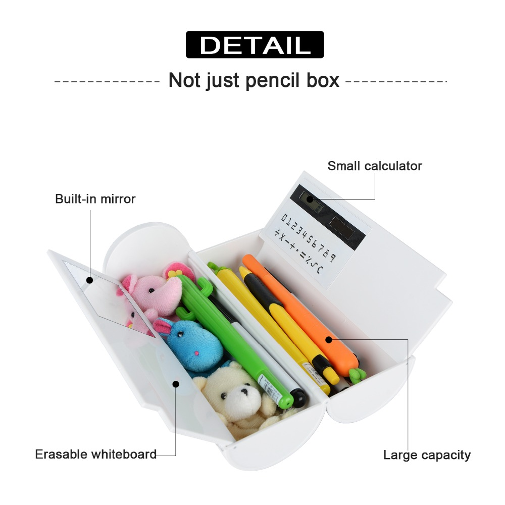 1 Piece Pencil Box Multifunctional Large Capacity Pencil Cases with Mirror Calculator for Boys Girls School Stationery noverty large capacity multifunctional canvas pencil cases boys girls stationery bags for school supplies material escolar 04803