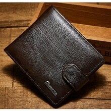 d71d9038d La marca de los hombres de moda carteras de cuero genuino corto carteras  hombre dinero monedero cremallera cartera pequeña tarje.