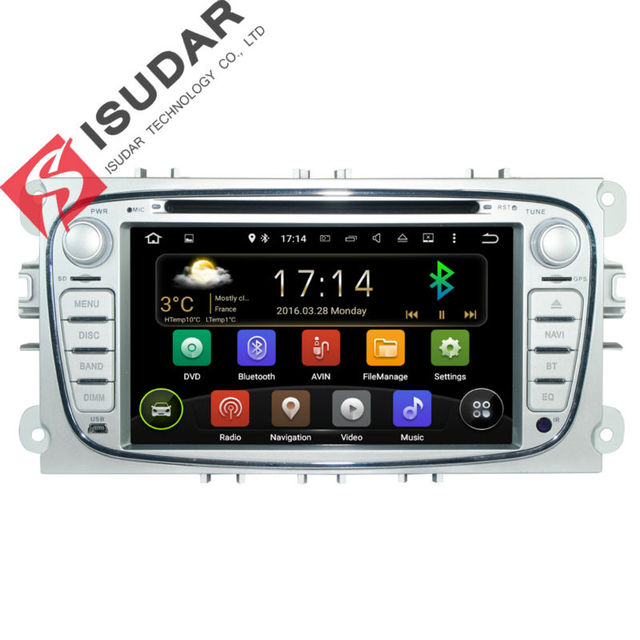 2 Din 7 Дюймов Android 5.1.1 Dvd-плеер Автомобиля Для FORD Focus/Mondeo/S-MAX/C-MAX/Galaxy Мультимедиа Wi-Fi Gps-навигация Радио FM