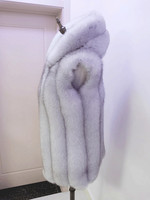 2019 Really fur vest fox fur jacket with a hood female leather coat medium long hat bars vest