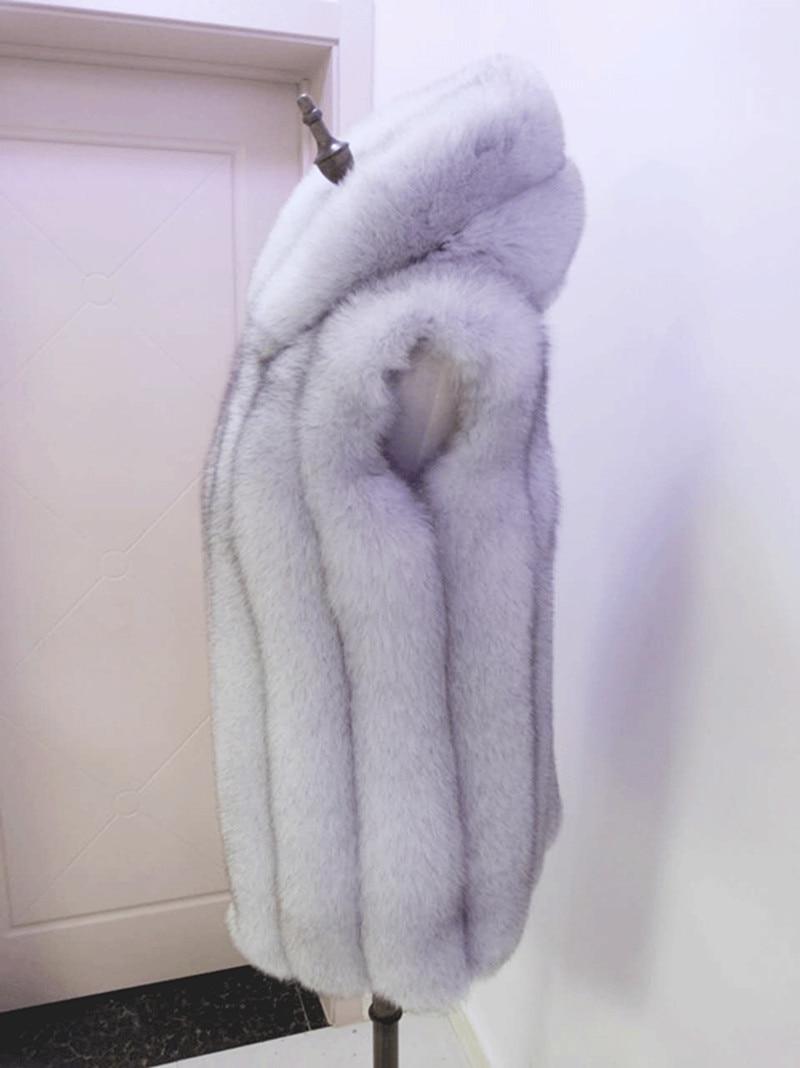 2019 Opravdu kožešinová vesta, liščí kožichová bunda s kapucí dámského koženého kabátu, středně dlouhá vesta s kloboukem