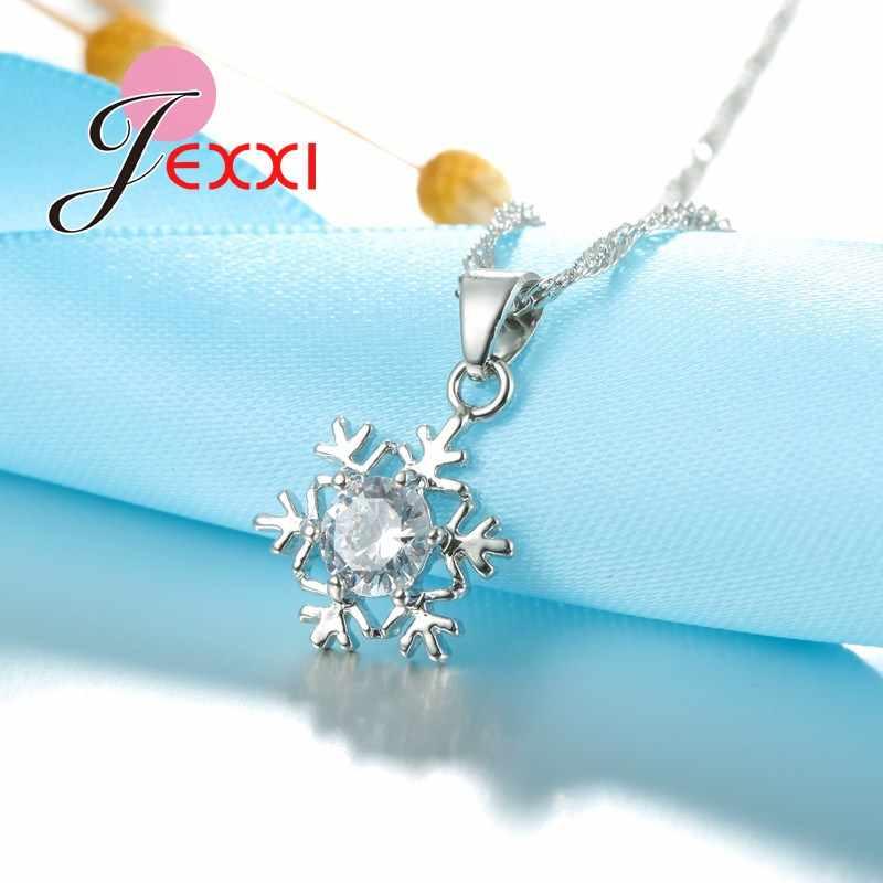 Elegan Romantis Kepingan Salju Liontin Kristal Dekorasi 925 Sterling Silver Rantai Kalung Anting-Anting Set Wanita Perhiasan Natal